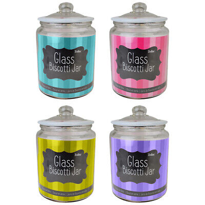 Zodiac Small - Large Clear Glass Storage Jar With Silicone Lid Biscotti Jars • 10.99£