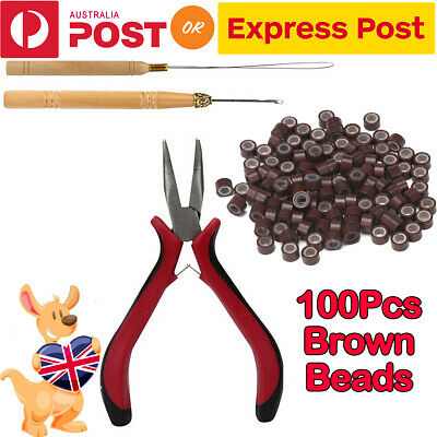 AU8.99 • Buy AU Hair Extension Tools Kits Feather Pliers Pulling Needle Silicone Micro Beads