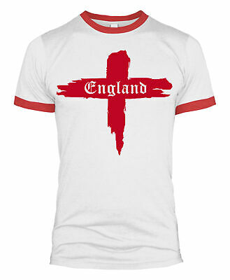 St Georges Day England Flag T-Shirt Ringer T Shirt With English Flag Mens L429 • 9.99£