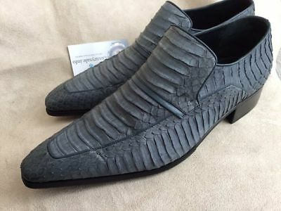 $ CDN635.46 • Buy ARTIOLI Grey Blue Python Leather Men's Loafer Shoes Hand Made In Italy Size US 8