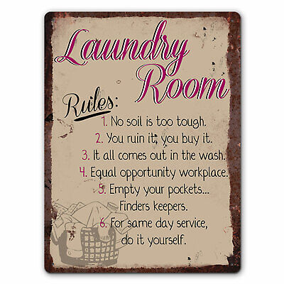 Laundry Room Rules - Vintage Metal Wall Sign • 6.99£