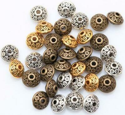 $ CDN2.90 • Buy 100Pcs 6mm Tibetan Round Oval Spacer Metal Rondelle Beads For Jewelry Making