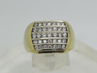 $999.95 • Buy SOLID 14k Yellow White Gold Round .90 CTW Diamond Cluster Men's 15.7mm Ring 10.5