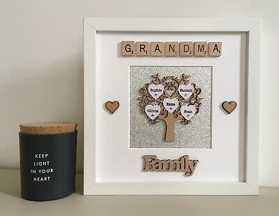 (b) Wood/Plastic Scrabble Art Picture Frame Family Tree Personalised Glitter • 27£