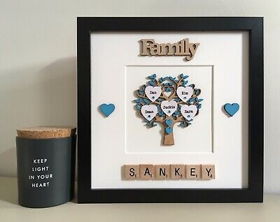 (c) Scrabble Art Picture Frame Painted Family Tree Personalised 30 Colour • 27£
