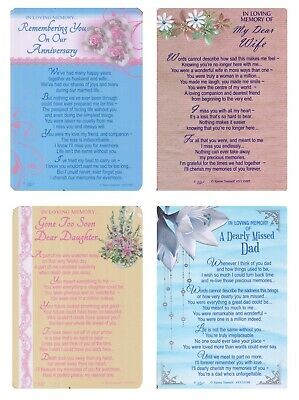 Graveside Memorial Cards Bereavement Wife Dad Daughter Anniversary With Verse • 1.85£