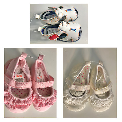 Newborn Baby Shoes Cotton White Or Pink Frill  Summer Sandal Non Slip Grip • 3.99£