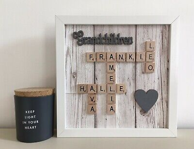 (g) Plastic/Wood Scrabble Art Picture Frame Personalised Family Name & Heart • 26£