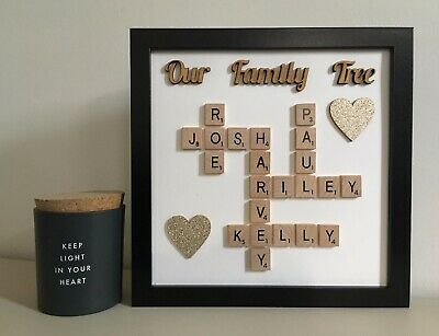 Scrabble Art Picture Frame Personalised Our Family Tree Plain/Patterned • 26£