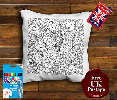 Peacock Cushion, Colouring Cushion Cover, Colouring In Pillow, With/without Pens • 9.99£
