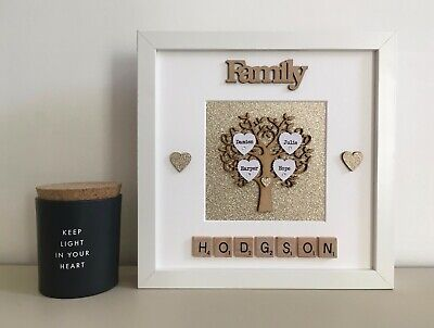 (a) Wood/Plastic Scrabble Art Picture Frame Our Family Tree Personalised Glitter • 26£
