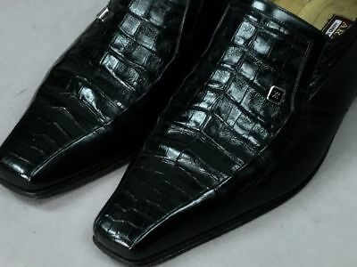 $ CDN887 • Buy ARTIOLI Black Alligator Crocodile Combo Leather Italy Men's Loafer Shoes Size 8