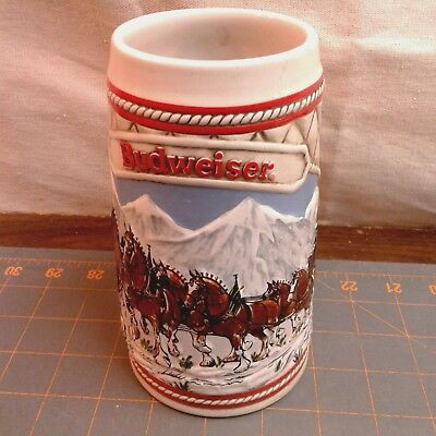 $ CDN19.80 • Buy BUDWEISER BEER STEIN Clydesdale 1985 A Series Holiday Christmas Wagon VINTAGE
