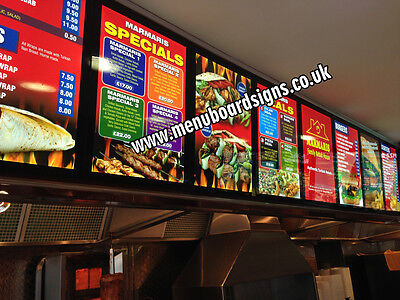 £210 • Buy Led Menu Board A2 (470x650mm) For Takeaways & Restaurants With Design & Graphics