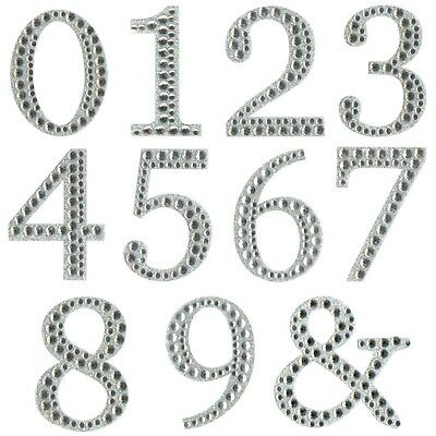 £0.99 • Buy Large Diamante Number Stickers Self Adhesive Silver Glitter Craft Numbers 5cm