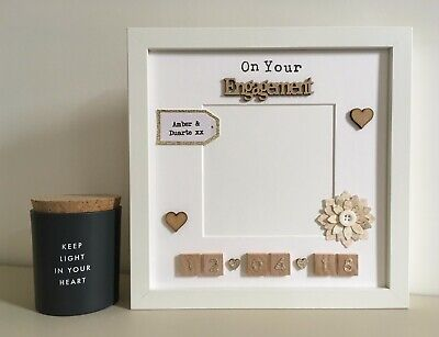 (c) Scrabble Picture Photo Frame Couple Engagement Wedding Anniversary Valentine • 24£