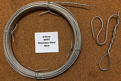 2mm X 2m 14 SWG SOFT Annealed Stainless Steel Wire Locking Chainmail Sculpting • 2.99£