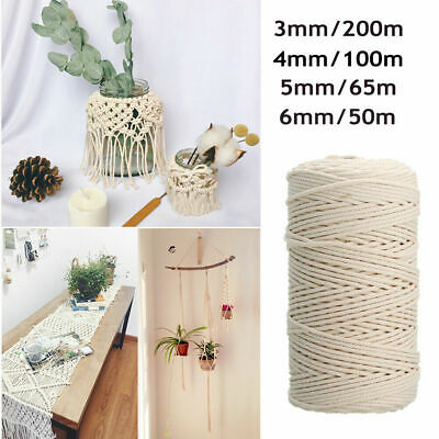 AU12.99 • Buy 3/4/5/6MM Macrame Rope Natural Cotton Twisted Cord Artisan Hand Craft 50-200M
