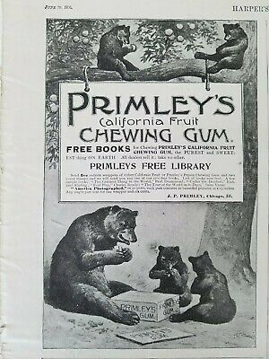 $ CDN13.35 • Buy 1894 Primleys California Fruit Chewing Gum Grizzly Bears Tree Art Ad