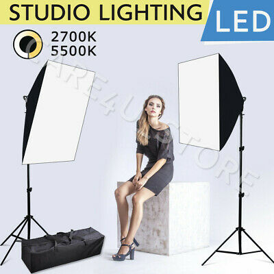 Dimmable LED Softbox Diffuser Stand Kit Photo Studio Continuous Lighting Video • 52.94£