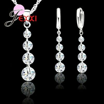 £5.49 • Buy 925 Sterling Silver Cubic Zirconica Crystal Pendant Necklace And Earring Set UK