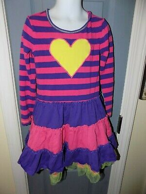 f59aa9f6c4a2f Hanna Andersson Pink Purple Stripe Dress Yellow Heart Size 110 (4-6) Girl's