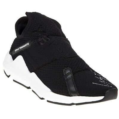 New Mens Y-3 Black Reberu Textile Trainers Chunky Lace Up Slip On • 239.99£
