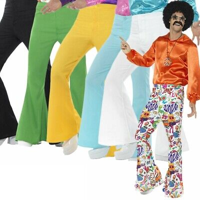 £15.49 • Buy 1970s Mens 1960s Flared Trousers Groovy Disco Flares Fancy Dress Hippie