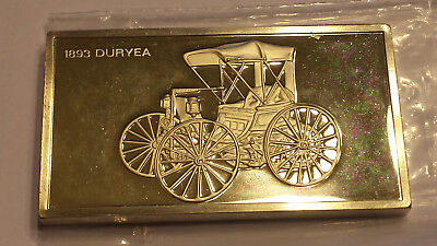 1893 Duryea Franklin Mint Collectible Cars 2 Troy Oz  Sterling .925 Silver Ingot • 70.79£