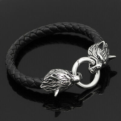 Men's Norse Viking Stainless Steel Wolf Braided Leather Cord Bracelet Amulet  • 6.83£