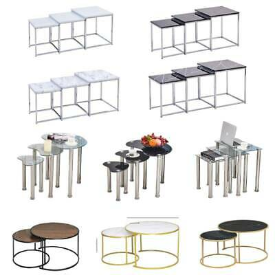 Modern Nest Of Tables Coffee Table Side End Table Home Living Room Black White • 35.99£