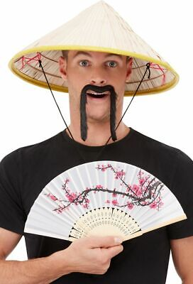 Men Ladies Adult Chinese Coolie Oriental Hat Fancy Dress + Fan + Tash • 6.49£