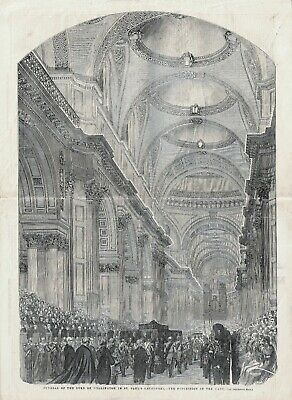 £8.99 • Buy OLD 1852 PRINT FUNERAL THE DUKE OF WELLINGTON LYING IN ST PAUL'S  CATHEDRAL D17