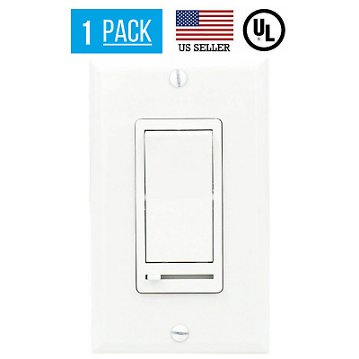 Single Pole 3-Way LED/CFL Light Dimmer W/ Cover Switch & Slide Dimmer White • 14.99$