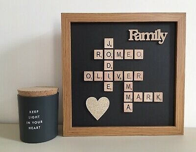 (d) Scrabble Picture Box Frame White/Black/Wood Word Art Personalised Black • 26£