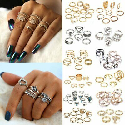 £2.78 • Buy Womens Boho Stack Plain Above Knuckle Ring Midi Finger Rings Set Jewellery Gifts