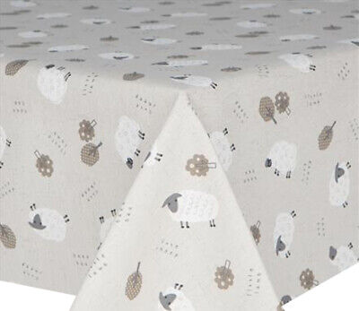 Acrylic Coated Table Cloth Baa Sheep Trees Grey Off White Linen Wipe Able Cover • 19.99£
