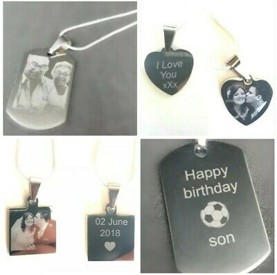Personalised Engraved Necklace Dog Tag, Heart, Square Pendant, Photo Image Text • 8.45£