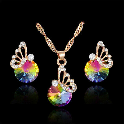£3.43 • Buy Stunning Crystal Rainbow Butterfly Wedding Prom Necklace & Earring Jewellery Set