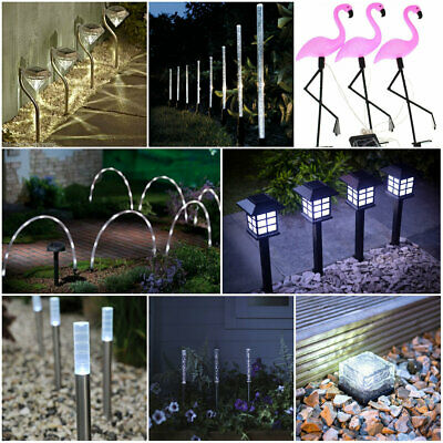 Solar Power Stake Lights White Colour Changing LED Garden Border Patio Outdoor  • 10.99£