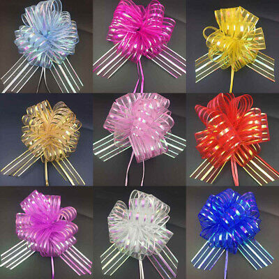 50mm Large Pom Pom Bow Organza Ribbon Pull Bows Wedding Party Decor Gift Wrap UK • 1.79£