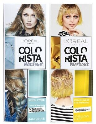 L'Oreal Colorista WashOut Semi-Permanent Hair Colour Dye Shampoo AquaBlue/Yellow • 6.99£