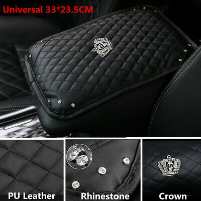 $21.42 • Buy PU Leather Car Center Console Armrests Box Mat Pad Crown Crystal Cushion Cover