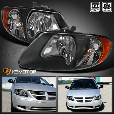 $69.38 • Buy For 2001-2007 Dodge Caravan Chrysler Town & Country Black Replacement Headlights