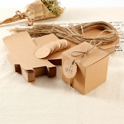 100X Eco Kraft Small Natural Gift Boxes Wedding Favour Includes String Tags • 4.69£