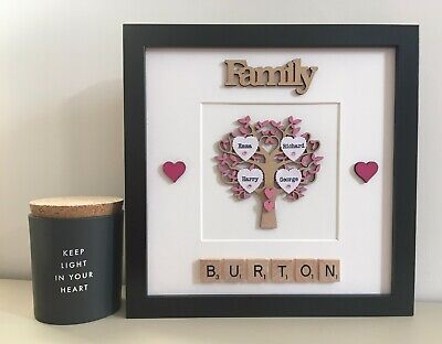 (d) Scrabble Art Picture Frame Painted Family Tree Personalised 30 Colour • 27£