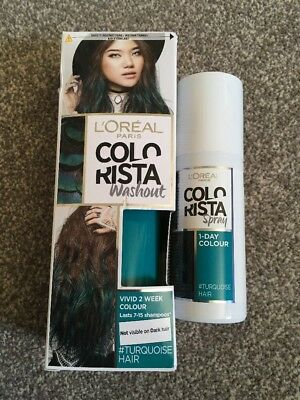 NEW L'Oreal Colorista Washout Turquoise Semi-Permanent Hair Dye & Spray Colour • 6.50£