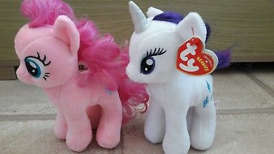 Two Cute My Little Pony TY Soft Cuddly Toys Rarity Pinkie Pie • 6.99£