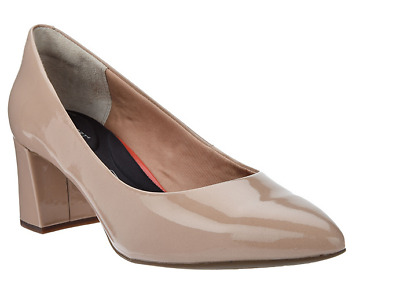 Rockport Total Motion Patent Leather Block Heel Pumps Salima Warm Taupe 6 New • 46.72£
