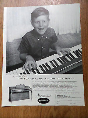 $2.40 • Buy 1961 Acrosonic Baldwin Organ Pianos Ad  Joey Found Out It's Fun To Learn